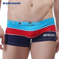 Wholesale Men s underwear men s swimsuits hot sale colorful strip boxers swimming trunks swimwear PJ