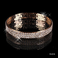 gold bars - 2016 New Cheap Gorgeous Gold Rhinestone Crystals Bracelet Beaded Wedding Party Bridal Bangle Jewelry Accessories