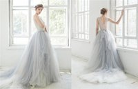 Wholesale 2016 Ombre Tulle Beach Wedding Dresses Lace Applique Beaded Scoop Neck Bridal Gowns Sleeveless Tiered Ruffles Sweep Train Wedding Dress