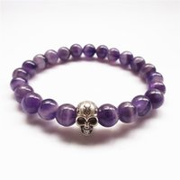 beads gif - 10Pcs High Quality New Beaded Bracelets Natural amethyst Beads with Skull c Bracelets Gif ZFGL001t