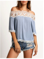 Wholesale 2016 Hot Sexy Women Blouse Hollow Lace Strapless Tops Lace Ftitching T shirt Female Crimp Top Camisas Off Shoulder