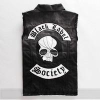 Wholesale black label society skull doom crew inc Sons of Anarchy motorcycle multi pocket polo man mens sports Denim jacket vest
