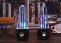 Wholesale New usb tumbler dancing water speaker Portable Mini USB LED colorful lighting music speakers Black White color ZD064 ZD064A