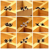 Wholesale The new Korean fashion hot style skull earrings cross earrings for both men and women Black tide
