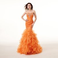 Wholesale Sexy Orange Mermaid Dresses made of High Quality Cotton Tulle Customized Color is Available by Factory