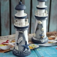 Wholesale 2016 pair Hot Mediterranean Style Wooden Lighthouse Model Decor Gift Craft Home Decoration