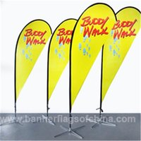 Wholesale 110x290cm Outdoor Advertising Banners Beach Banners Teardrop Flags Double Side Beach Flags with Screw or Spike Feet POS