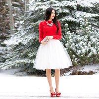 Wholesale Cheap Blue Red Tutu - 2016 Cheap Short Tulle Skirts Custom Made White Ivory Knee Length Pleated Plus Size Maxi Skirts For Women Summer Tutu Skirt Vestidos