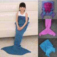 Wholesale 2016 Knitted Mermaid Tail Blanket Super Soft Handmade Women Kids Blankets Crochet Anti Pilling Portable Blankets x90CM x70CM x50CM