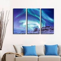 aurora landscape lighting - LK3230 Panels Northern Light Aurora Borealis Kirkjufell Iceland Winter Landscape Wall Art Modern Pictures Print On Canvas Paintings For Ho