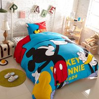 Cheap 3 4pcs 100% Cotton bed linen mickey and minnie kids mouse bedding sets Blue duvet cover set king queen twin size bedspread Home Textiles