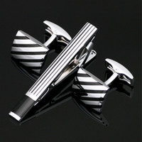 Wholesale High Quanlity Cufflinks And Tie Clip Set French Shirt Cuff Link Clasp Bar Set Gift Box For Men Jewelry Brand Tie Clips Z