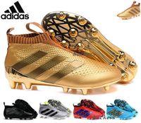 al por mayor botas de fútbol-Adidas Originals ACE 16+ PureControl FG resbalón en los zapatos del fútbol de los hombres de los cargadores de los hombres baratos rendimiento original del as 16 grapas del fútbol zapatillas de deporte