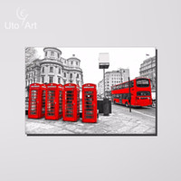 art telephone - Hot Telephone Box Canvas Painting Home Decor London Bus Wall Art Picture Prints Street For Living Room Cafe Unframed