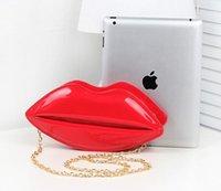 big handbags on sale - 2016 New popular big lips pattern women bag handbags clutch chain shouder bag evening bag red pu leather bags shoulder bag on sale