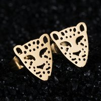 animal earing - Crystal Ear Jewelry Lovely Gold Teddy Earing Stainless Steel leopard Head Stud Earrings Jewelry For Women brincos