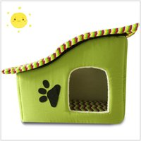 Wholesale 2016 New Arrival Dog Bed Cama Para Cachorro Soft Dog House Daily Products For Pets Cats Dogs Home Shape Color Yellow Green