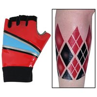 Wholesale Harley Quinn Gloves Suicide Squad Handwear Pleather glove with Arm Tattoo Halloween costume Accessories