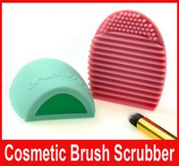 Wholesale Brushegg Pro Egg Cleaning Glove Cleaning Makeup Washing Brush Silica Glove Scrubber Board Cosmetic Clean Tools Brush Cleaner colors Hot