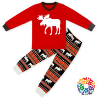 Cheap DHL New Kids Christmas Sleepwear Children Clothing sets Boys Girls Cotton Deer printed Tops Pants Pajamas Santas Little deer Sleepwear Sets