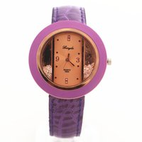 belt buckle rings - Promotion price PVC leather band gold case with resin ring diamond deco Gerryda fashion woman lady quartz watches