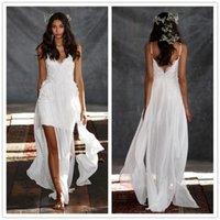 beach weeding dress - 2016 Unquic Sparhetti Wedding Dresses Appliques Chiffon Sleeveless Weeding Gowns Short Length Custom Made Beach Wedding Dress