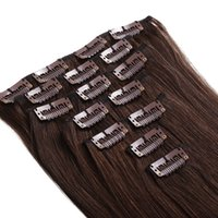 Wholesale clip in human hair extensions natural human hair g brazilian straight hair by dhl clip in human hair extensions
