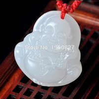 Wholesale NEW High Quality Natural White Jade Carved Lucky Amulet Buddha Pendant Necklace For Men Pendants Jade Jewelry With Certificate
