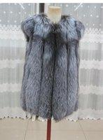 achat en gros de womens gilets rouges-Gros-2016 bas prix 100% réel Véritable Rouge réel Gilet fourrure de renard renard argenté fourrure naturelle Gilet Gilet Vêtements pour femmes Outwear gilet