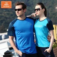 Wholesale THE FIRST OUTDOOR Men s Quick Dry T Shirt Hiking Tees Running Gym T Shirts Riding Cycle T Shirts Breathable Anti UV Shirts