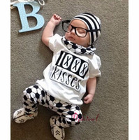 Spring / Autumn baby football outfits - 2016 Boys Baby Childrens Clothing Sets Letters Short Sleeve tshirts Football Printed Pants Set Kids Clothes Outfits Boutique Clothing