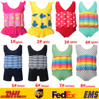 Wholesale New Baby Boys Girls Bath Float One Piece Swimsuit Bikinis Kids Child Toddler Stripe Dot Swimwear Costume Removable SPA Beach Swimsuit LN S12