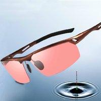 al por mayor vidrios de la pesca nocturna-Las aleaciones de aluminio del magnesio se divierten los hombres rosados de los vidrios de la pesca de la lente, coche que conduce de la sensación estérea 3D en los hombres de las gafas de sol de la noche El shippng libre polarizado