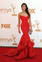 Wholesale 2016 Actual Image Sexy Red Nina Dobrev Mermaid Sweetheart Strapless Emmy Awards Celebrity Dresses