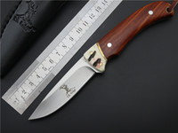 Wholesale 2016 ElkRidge Stag Buck Deer Elk Ridge Fixed Knife Satin blade Wood Handle Small Straight camping Hunting Tactical Outdoor Fruit knives