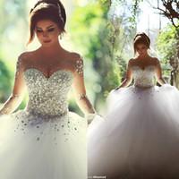 Wholesale Sweetheart Lace Mermaid Wedding Dresses Dimond Decoration Transparent Back Sleeveless Illusion Strapless Court Train Bridal Gowns