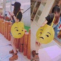 Wholesale Fashion Emoji sleek shoulder bags Cute big PU round shoulder bag Girls hot fashion bag EMS