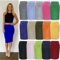 Wholesale 2016 Fashion Plus Size Elastic Waist Midi Skirts Women Solid Stretch Bodycon Pencil Skirt Ladies Party Casual Skirts NSHA51