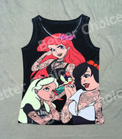 Wholesale Track Ship Vintage Vest Tanks Tank Tops Camis Cartoon Tattoo Three Strong Princess Fairy Story
