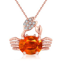 animals cancer - Christmas gift europe style and Fashion K Gold Cancer Champagne zircon rose gold pendant for women