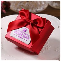 Wholesale Marriage wedding supplies Square box Creative Bow knot candy box personality Folding candy Boxes cm cm cm