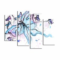abstract oil paintings for sale - LK4203 Panel Colourful Butterflies Abstract Insect Wall Art Mordern Pictures Print On Canvas Paintings Sale For Home Bar Hub Kitchen Fas
