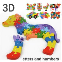 Wholesale PT1007 New arrival creative D puzzles wooden toys letters and numbers animal puzzle early educational toy send random