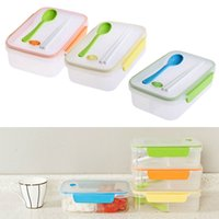 Wholesale Hot Sale Portable Transparent Three Compartments Lunch Bento Box Food Snack Container with Spoon Chopsticks Color at random E5M1