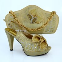 beautiful purple shoes - Gold Beautiful Fashion africa Marry shoe italian shoes matching bag set with of sequins for wedding MM1015
