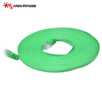 al por mayor red verde-Nuevo plano 50 pies 15M Cat 6 Cat6 Lan UTP Red Ethernet Rj45 Cable de remiendo Flat Full Copper Cable RoHS Verde Color