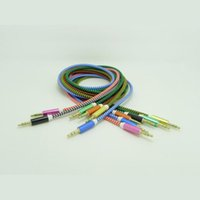 Wholesale 1M Colorful Woven Fabric Braided Auxiliary Aux Audio Cable mm Jack Male to Male Cord for iphone4S C for Samsung