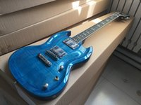 best electric saw - Best Selling CNC arctop SG shape Chrome parts electric guitar see thru blue
