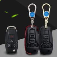 Wholesale Premium Leather Remote Key Holder Fob Case Cover For FORD Focus KUGA Mondeo Edge Ecosport