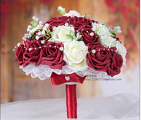 accent wedding - Elegant Burgundy White Handmade Decorative Artificial Rose Flowers Bride Bridal Crystal Lace Accents Bridal Wedding Bouquets Cheap